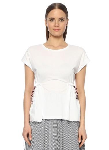 NetWork Kadın 1073267 Basic Fit Beli Bağcık Detaylı Basic T-shirt Beyaz